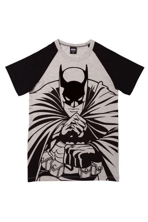 Camiseta Juvenil com Estampa Batman Raglan Flocada