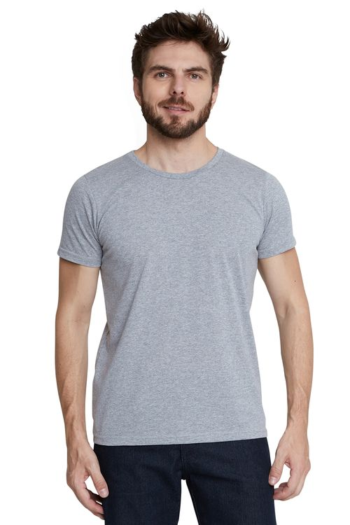 Camiseta Masculina Básica Manga Curta Cinza
