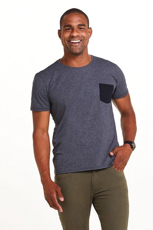 Camiseta Masculina Manga Curta Cinza com Bolso