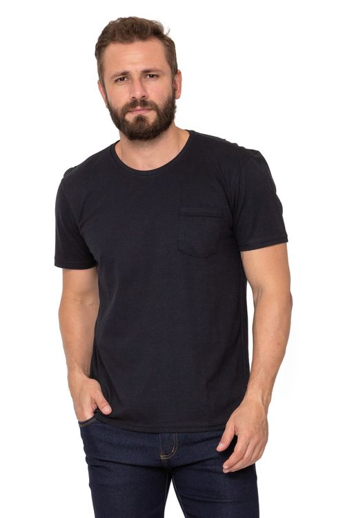 Camiseta Masculina Manga Curta Básica Cinza com Bolso