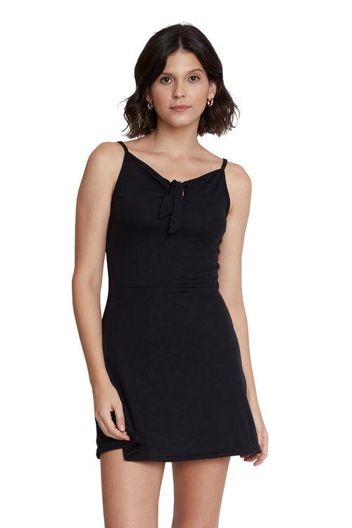 Vestido Feminino Curto Preto Alça com Laço