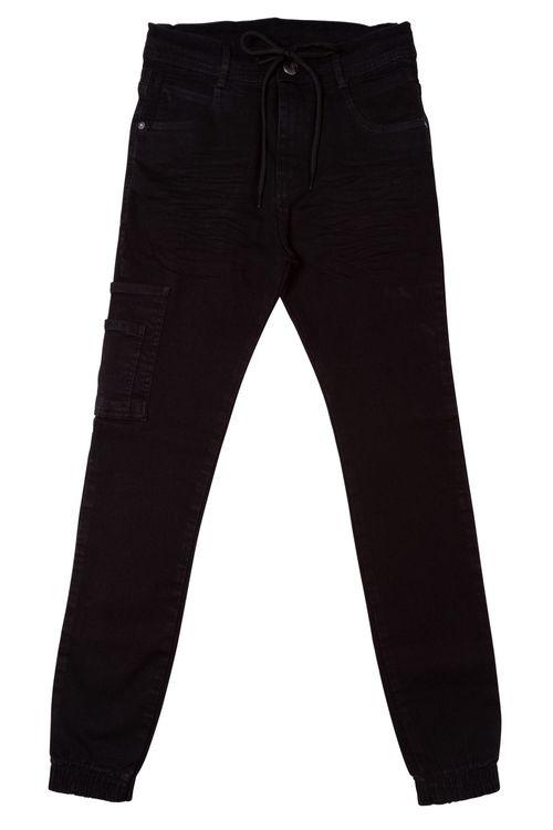 Calça Jeans Preta com Elástico nas Barras