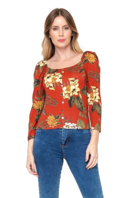 Blusa Feminina Floral com Botões