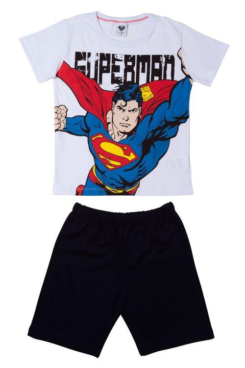 Conjunto Infantil Estampado Shorts e Camisa Superman