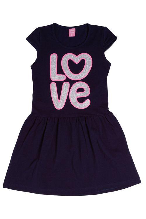Vestido Estampado Azul Marinho Love