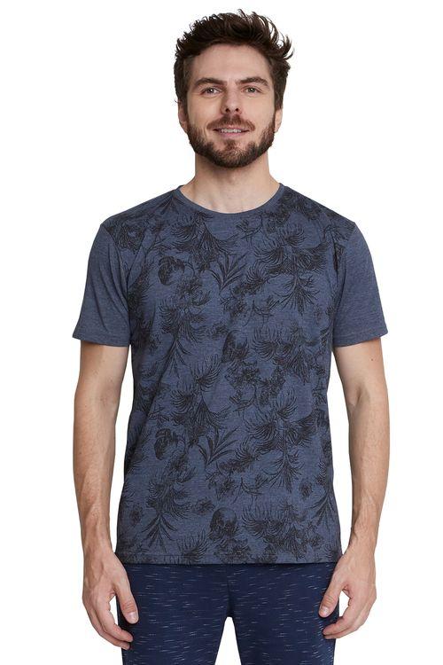 Camiseta Masculina Azul Folhagens e Caveira