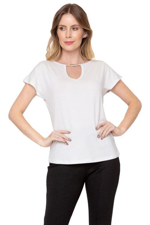 Blusa Feminina Off White com Recorte