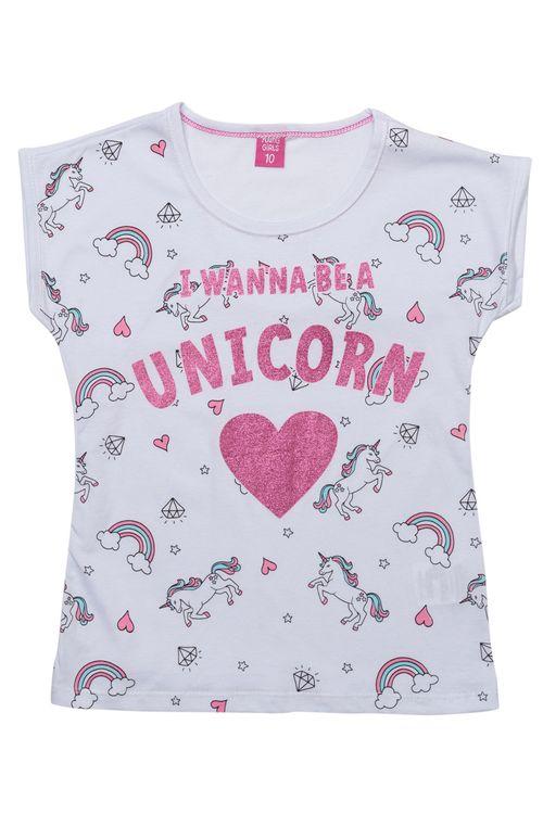 Camiseta Infantil Feminina Unicórnio Branca