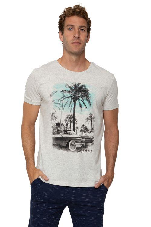 Camiseta Masculina Estampada Coqueiros Cinza