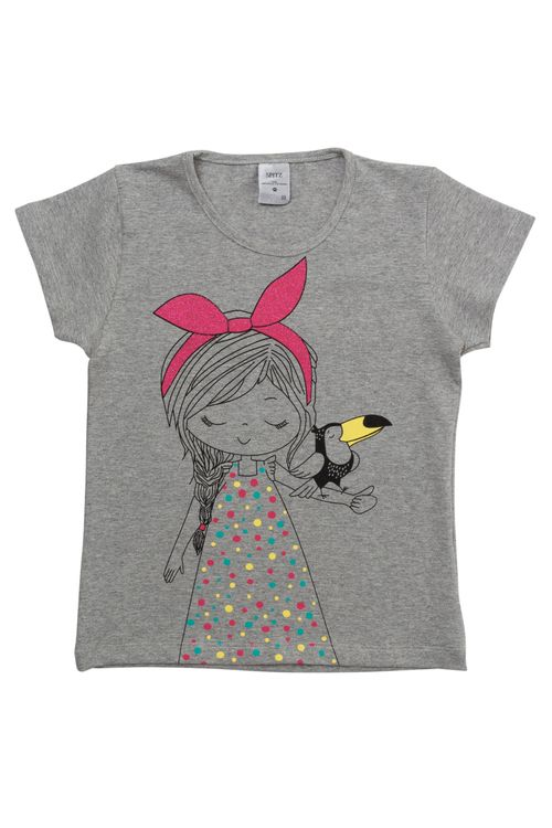 Camiseta Infantil Feminina Menina e Tucano Cinza