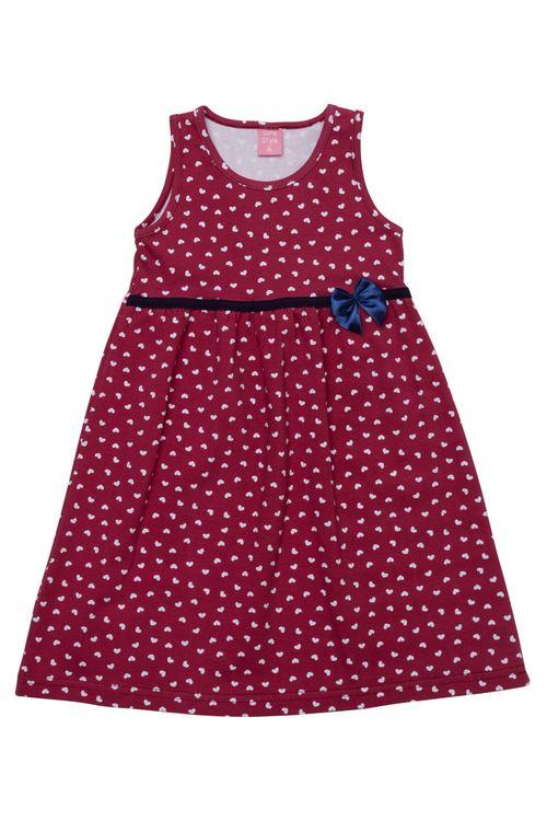 Vestido Infantil Feminino Corações Vermelho