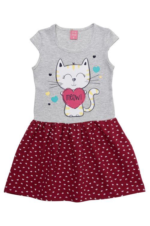 Vestido Infantil Feminino Gatinho Vermelho