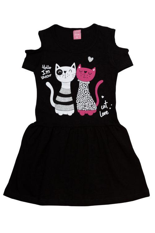 Vestido Infantil Feminino Gatinhos Preto
