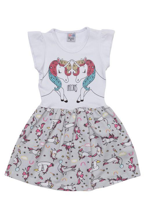 Vestido Infantil Feminino Unicórnio Branco