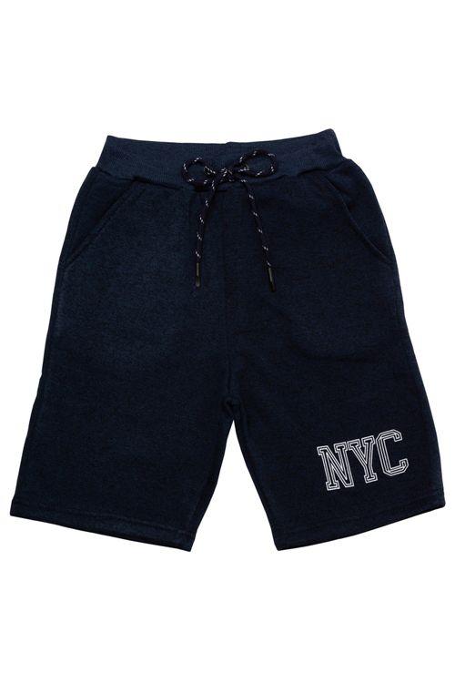 Bermuda Infantil Masculina Moletom New York Azul