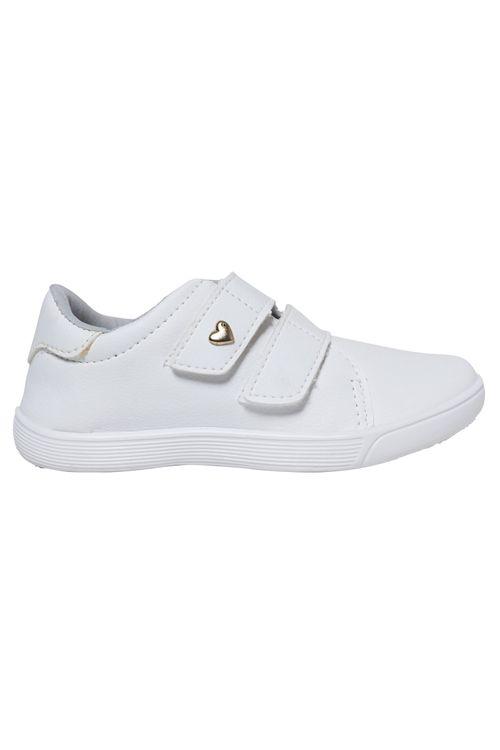 Tênis Infantil Feminino Velcro Branco