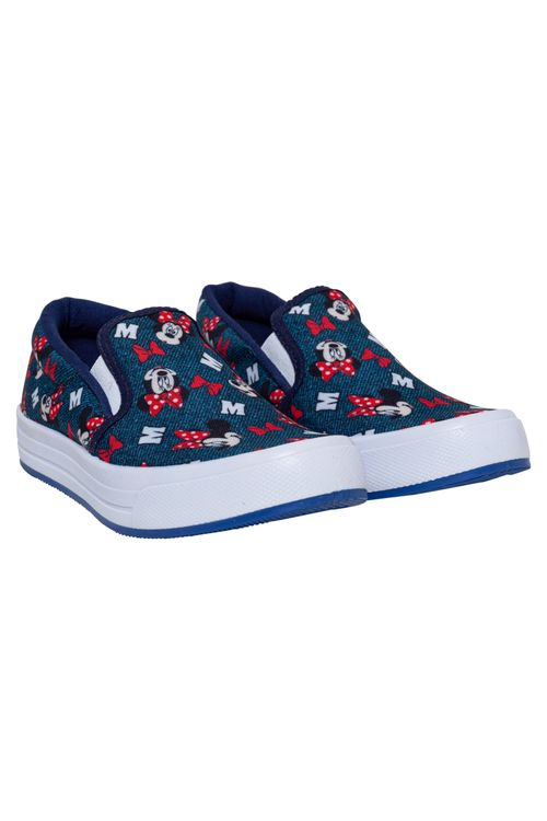 Tênis Infantil Feminino Slip On Jeans Minnie