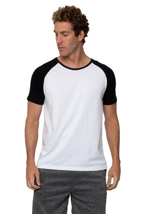 Camiseta Masculina Raglan Branca