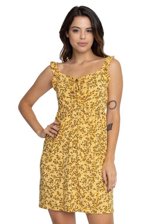 Vestido Feminino Babados Liberty Amarelo