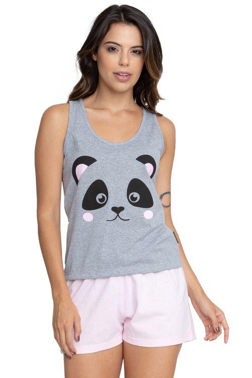 Pijama Feminino Regata Panda Mescla