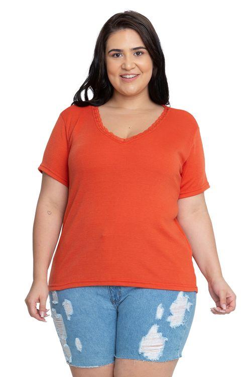 Camiseta Feminina Casual Renda Laranja Feita Pra Mim