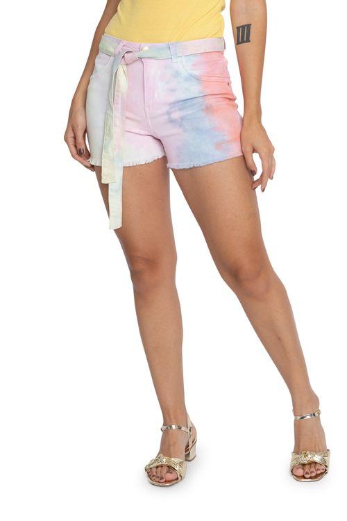 Shorts Feminino Tie Dye Colorido com Faixa