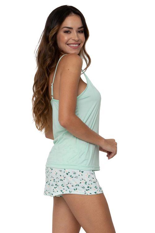 Conjunto Pijama Feminino Regata Verde e Shorts Flores