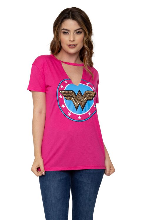 Camiseta  Feminina Choker Mulher-Maravilha Pink