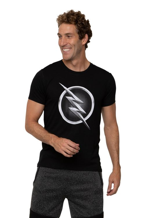 Camiseta Masculina Estampada Flash Preta