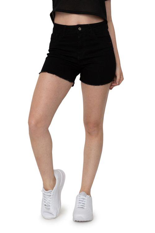 Shorts Jeans Feminino Preto Desfiado