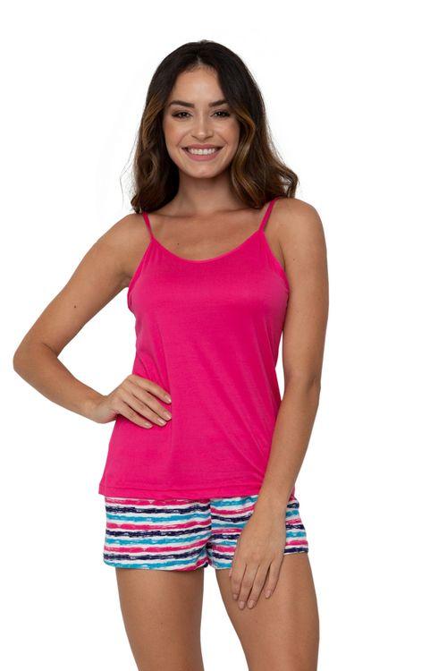 Conjunto Pijama Feminino Regata e Shorts Listras