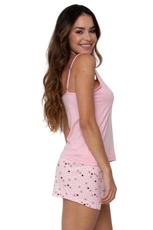Conjunto Pijama Feminino Regata Rosa e Shorts Poá
