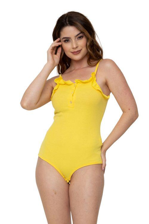 Body Feminino de Alça Canelado Amarelo