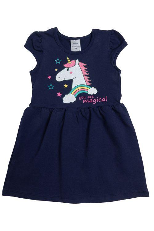 Vestido Infantil Feminino Unicórnio Marinho