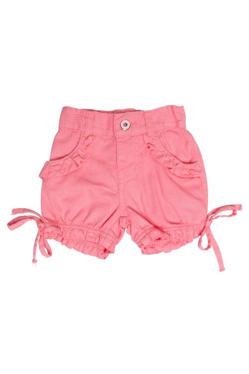 Shorts Infantil Feminino Laço Barra Rosa