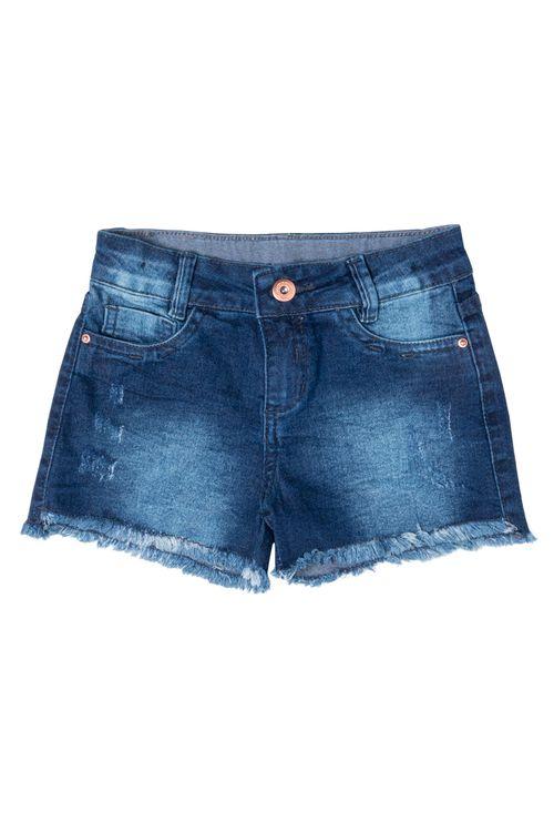 Shorts Jeans Infantil Feminino Desfiado Básico