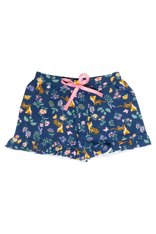 Shorts Infantil Feminino Floral Tigre