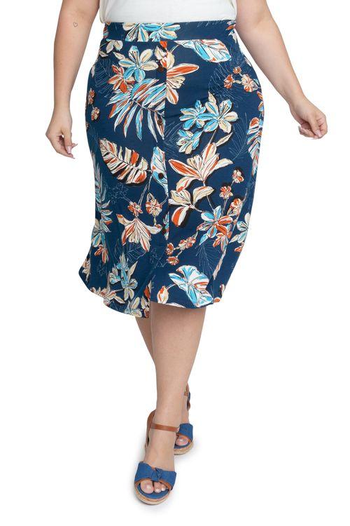 Saia Feminina Mini Floral Azul Feita Pra Mim