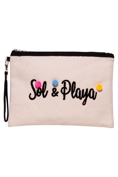 Necessaire Sol & Playa Pompoms