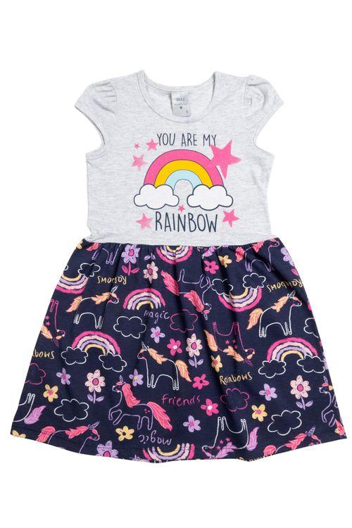 Vestido Infantil Feminino Rainbow Marinho