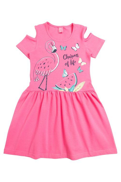 Vestido Infantil Feminino Flamingo Rosa