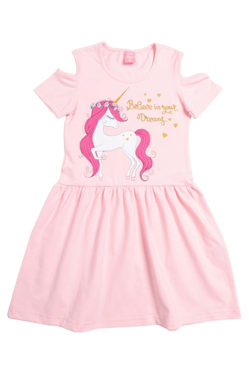Vestido Infantil Feminino Unicórnio Rosa