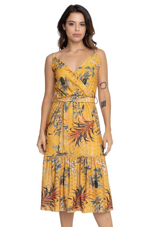 Vestido Feminino Casual Midi Laise Floral Amarelo