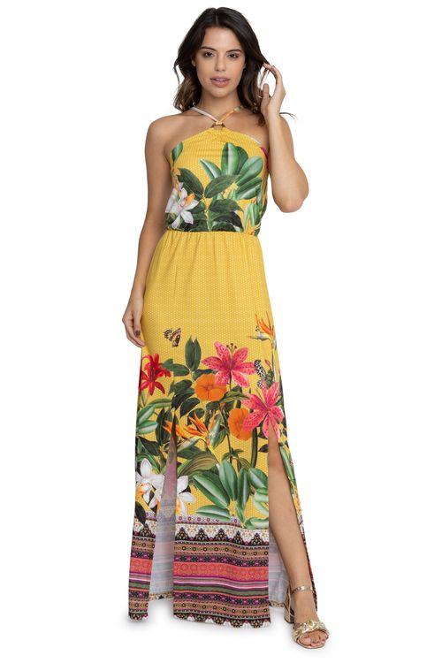 Vestido Feminino Longo Frente Única Fendas Floral Amarelo