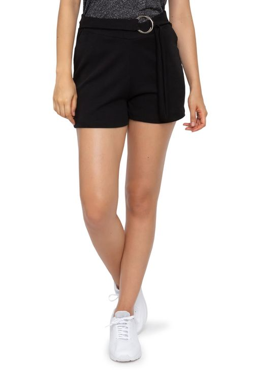 Shorts Feminino Casual Crepe Preto