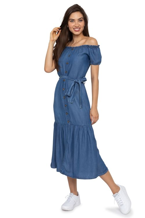 Vestido Feminino Jeans Ciganinha