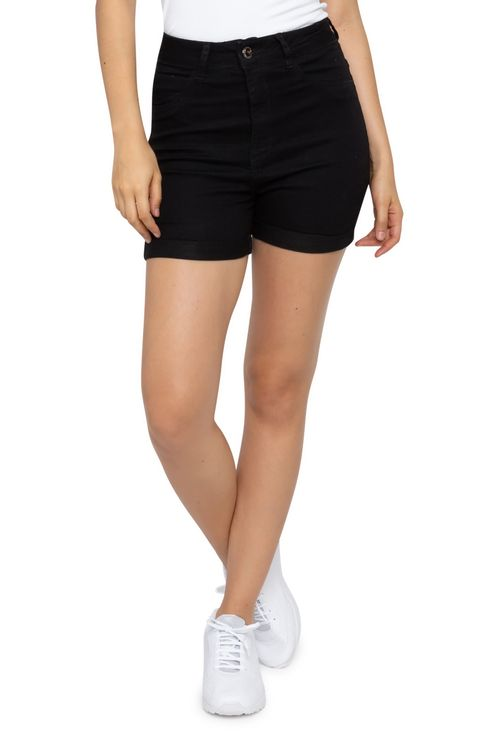 Shorts Jeans Feminino Meia Coxa Preto