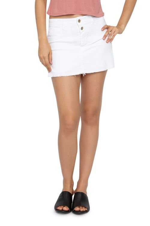 Short Saia Feminino Sarja Desfiado Branco