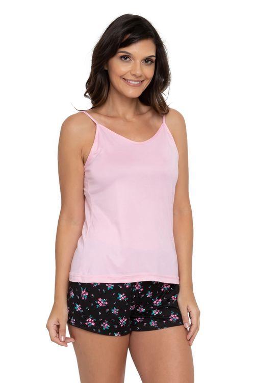 Pijama Feminino Floral Rosa