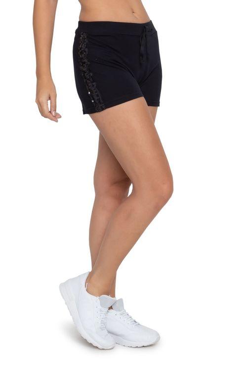 Shorts Feminino Paetê Preto